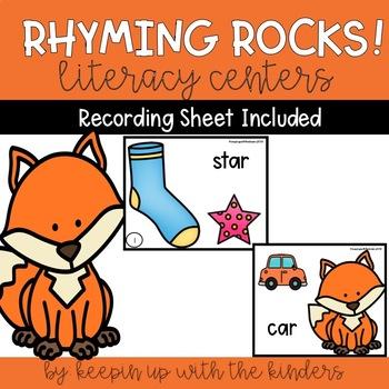 Rhyming Rocks! Literacy Center with Recoding Sheet
