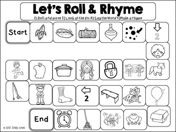 Rhyming-Roll and Rhyme Board Games