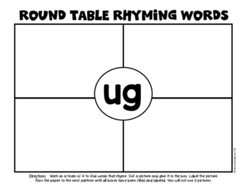 Rhyming Round Table Game (Team Activity) for Kindergarten & First Grade
