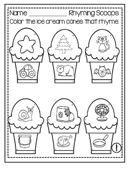 Rhyming Scoops - Worksheets