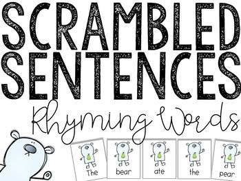 Rhyming Scrambled Sentences: Writing Center Activity