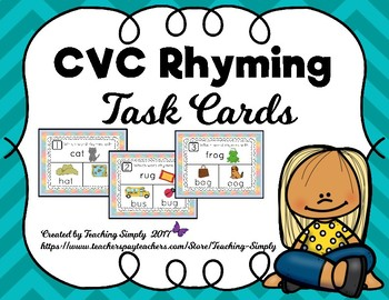 Rhyming Short Vowel Task Cards