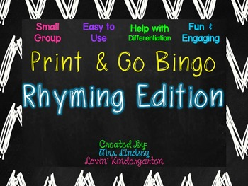 Rhyming Small Group Bingo