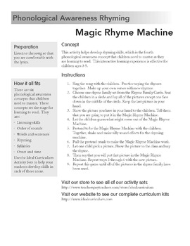 Rhyming Song and Activity -Magic Rhyme Machine