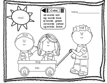 Rhyming Task Cards - CVC - pictures and words - short vowel word famililes