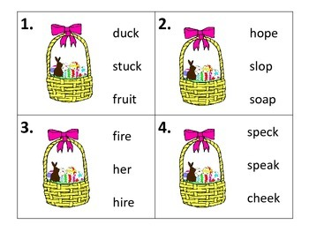 Rhyming Task Cards and Worksheets---Easter Theme