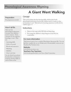 Rhyming Through Music *A Giant Went Walking*