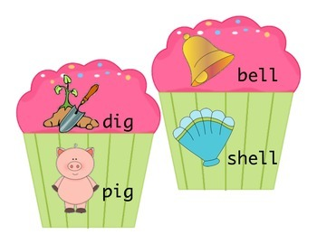 Rhyming Time Cupcakes, beginner rhyming word family match