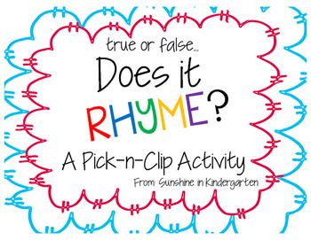 Rhyming True or False Pick-n-Clip