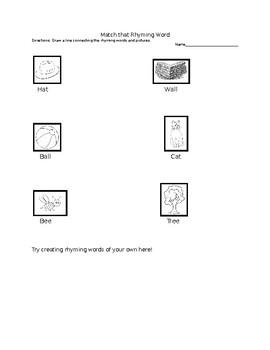 Rhyming Word Activity Sheet