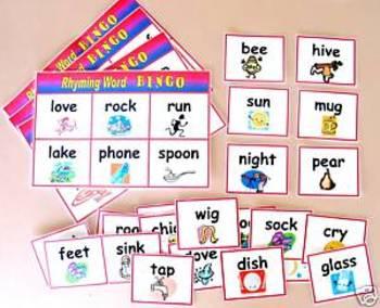 Rhyming Word Bingo Game