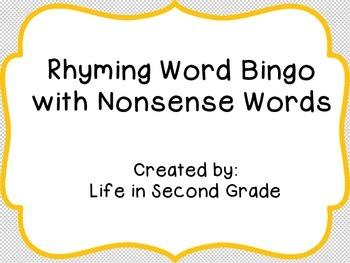 Rhyming Word Bingo with Nonsense Words