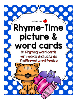 Rhyming Word Cards!  19 Different Word Families!