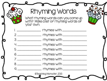 Rhyming Word Cards--Holiday edition