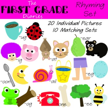 Rhyming Word {Digital Clip Art} at, et, ug, ig, og, eg, ear, oon, ail, ee, one