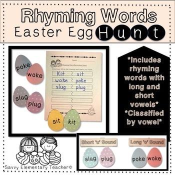 Rhyming Word Easter Egg Hunt *Long&Short Vowel Sounds, CVC words, Lesson*