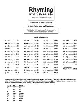 Rhyming Word Families