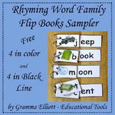 Rhyming Word Family Flip Books Sampler for K-1-2