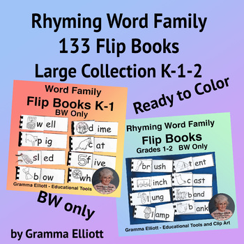 Rhyming Word Family Flip Books is BW Only - Ready to Color