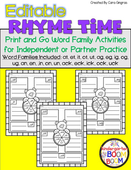 Rhyming/ Word Family Games (K/1) - EDITABLE