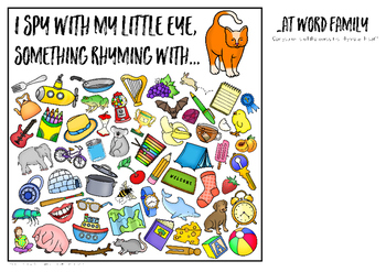 Rhyming Word Family I Spy Mats - AT words
