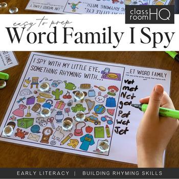 Rhyming Word Family I Spy Mats - ED/EN/ET BUNDLE