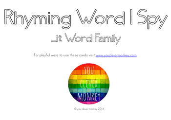 Rhyming Word Family I Spy Mats - IT words