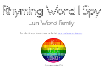 Rhyming Word Family I Spy Mats - UN words