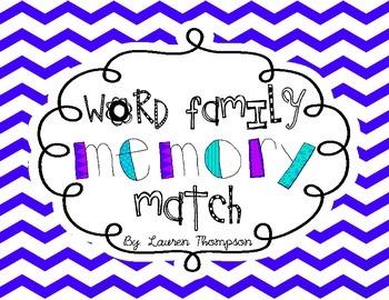 Rhyming Word Family Memory Match
