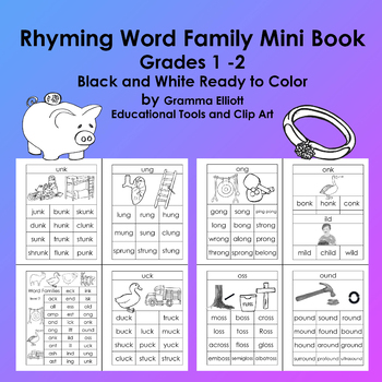 Rhyming Word Family Mini Book - in BW - Grades 1-2 - 29 word families