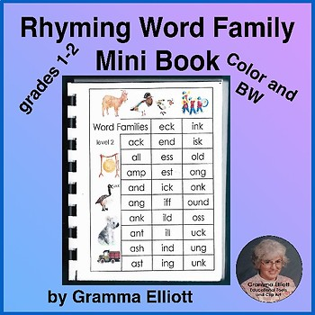 Rhyming Word Family Mini Book in Color and BW for Grades 1-2 (29 word families)