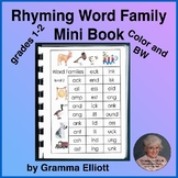 Rhyming Word Family Mini Book in Color and BW for Grades 1