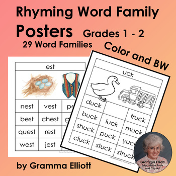 Rhyming Word Family Posters Gr 1-2 - Short Vowels - in Color and BW