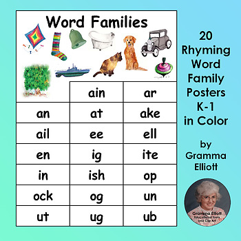 Rhyming Word Family Posters - 20 Word Families for Grades k-1 in Color