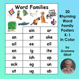 Rhyming Word Family Posters - 20 Word Families for Grades k-1 in Color Only