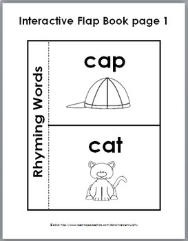Rhyming Words Matching Activities - Puzzles, Worksheets, Flap Book, & Poster