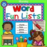 Rhyming Word Fun Lists