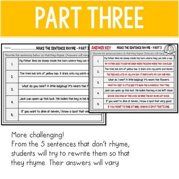 Rhyming Word Sentence Sort 2