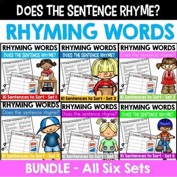 Rhyming Word Sentence Sort BUNDLE