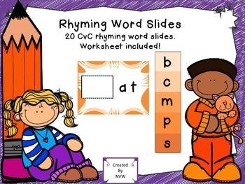 Rhyming Word Slides - 20 CvC Words