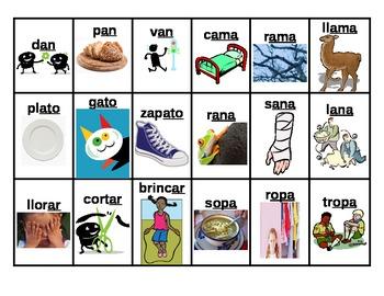 Rhyming Word Sort - Words in Spanish