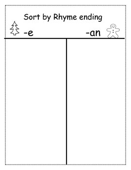Rhyming Word Sort - (-an) (-ee) Cut and Paste T-Chart and Game