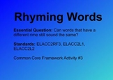 Rhyming Word Sort for ELA Common Core Unit 3