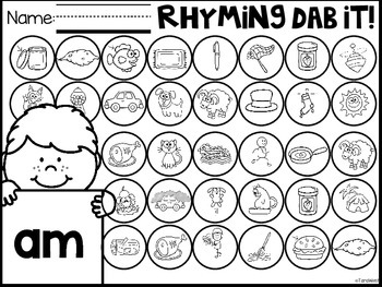 Rhyming Word Word Dab It!