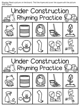 Rhyming Word Work Activities Home Connection