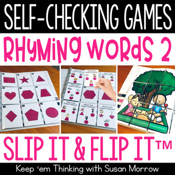 Rhyming Words 2 Self-Checking Games - Slip It and Flip It