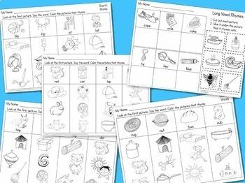 Rhyming Words Activities, Centers, & Worksheets for Kindergarten Reading