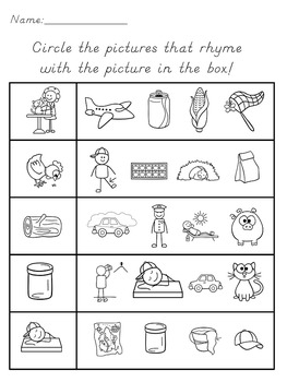 Rhyming Words Activity Game & Worksheets