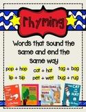 Rhyming Words Anchor Chart