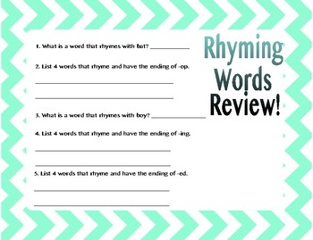 Rhyming Words Anchor Charts with Practice Sheet